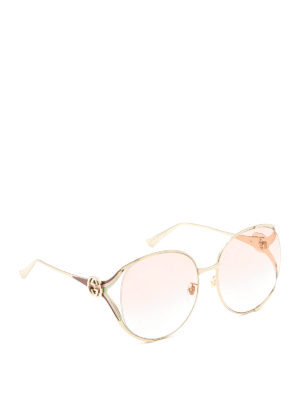Gucci: sunglasses - Round slim metal frame sunglasses