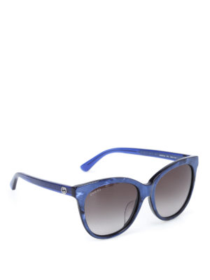 Gucci: sunglasses - Shimmering blue acetate sunglasses