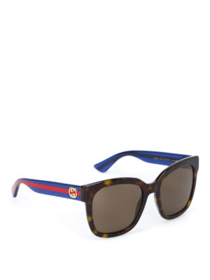 Gucci: sunglasses - Sunglasses with contrasting temples