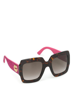 Gucci: sunglasses - Tortoise over square sunglasses