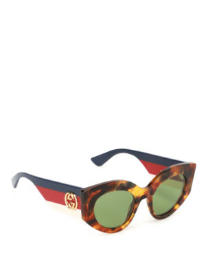 Gucci: sunglasses - Tortoise sunglasses with Web temple
