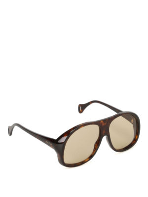 Gucci: sunglasses - Tortoiseshell mask sunglasses