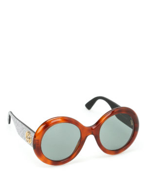 Gucci: sunglasses - Tortoiseshell rounded sunglasses