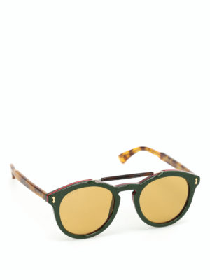 Gucci: sunglasses - Web acetate rounded sunglasses