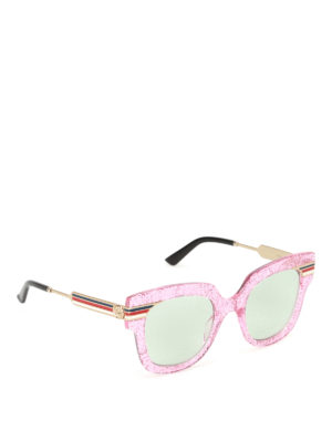 Gucci: sunglasses - Web detail glitter pink sunglasses