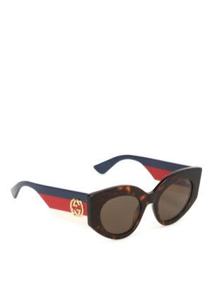 Gucci: sunglasses - Web temples tortoise sunglasses