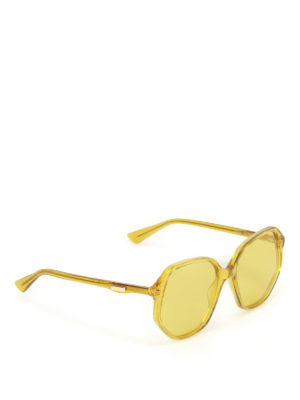 Gucci: sunglasses - Yellow geometric sunglasses