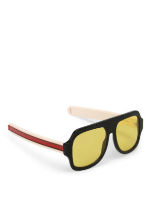 Gucci: sunglasses - Yellow lenses black mask sunglasses
