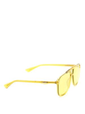 GUCCI: occhiali da sole - Occhiali da sole squadrati gialli