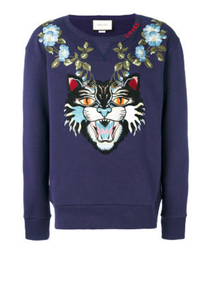 Gucci: Sweatshirts & Sweaters - Angry Cat and floral sweatshirt