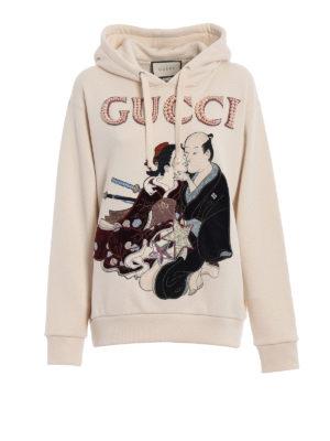 Gucci: Sweatshirts & Sweaters - Geisha pattern embellished hoodie