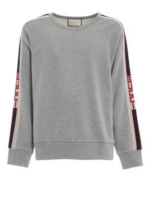 GUCCI: Felpe e maglie - Felpa in cotone con bande Gucci