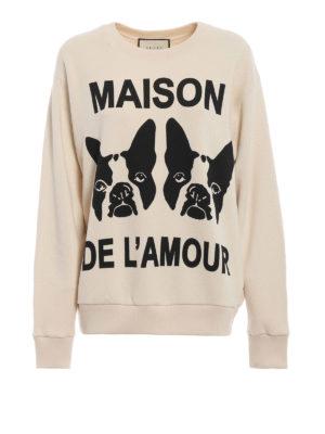 GUCCI: Felpe e maglie - Felpa in cotone bianco Maison De L'Amour