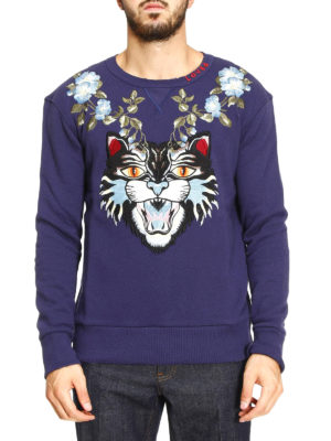 Gucci: Sweatshirts & Sweaters online - Angry Cat and floral sweatshirt