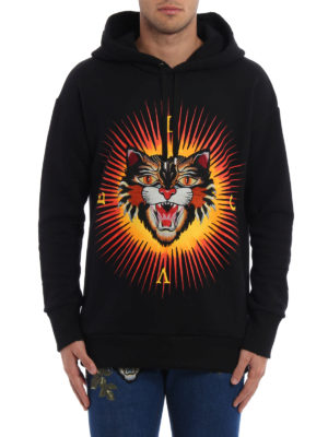 Gucci: Sweatshirts & Sweaters online - Embroidered Angry Cat patch hoodie
