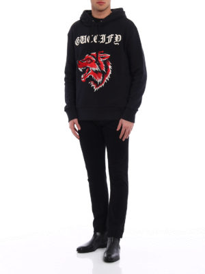 Gucci: Sweatshirts & Sweaters online - Embroidered Guccify and wolf hoodie