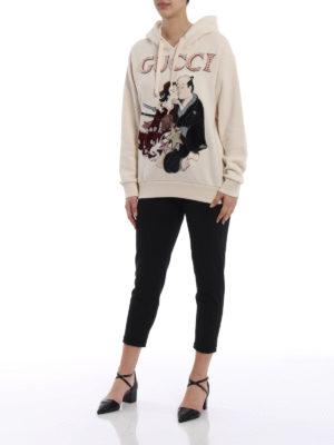 Gucci: Sweatshirts & Sweaters online - Geisha pattern embellished hoodie