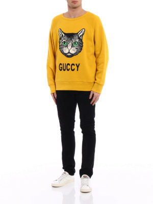 Gucci: Sweatshirts & Sweaters online - Guccy embroidered cotton sweatshirt