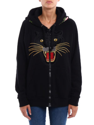 Gucci: Sweatshirts & Sweaters online - Tiger patch over hoodie