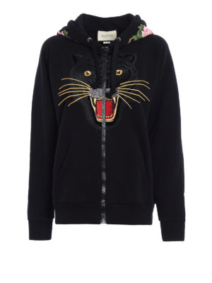 Gucci: Sweatshirts & Sweaters - Tiger patch over hoodie