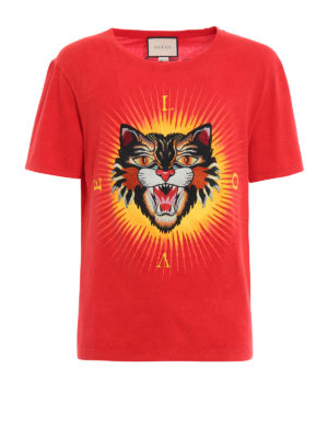 Gucci: t-shirts - Angry Cat embroidered T-shirt