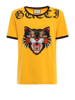 Gucci: t-shirts - Angry Cat patch T-shirt