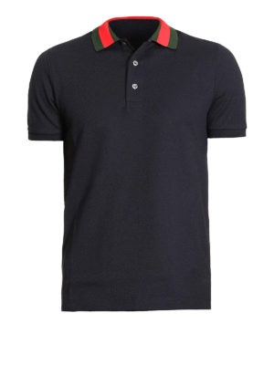 Gucci: t-shirts - Back patch Web collar polo shirt