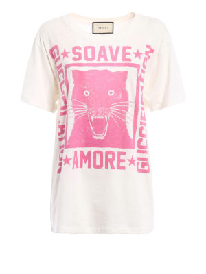 Gucci: t-shirts - Guccification pink print over Tee