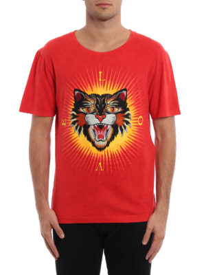 Gucci: t-shirts online - Angry Cat embroidered T-shirt