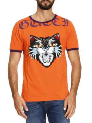 Gucci: t-shirts online - Angry Cat patch orange T-shirt