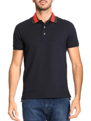 Gucci: t-shirts online - Back patch Web collar polo shirt