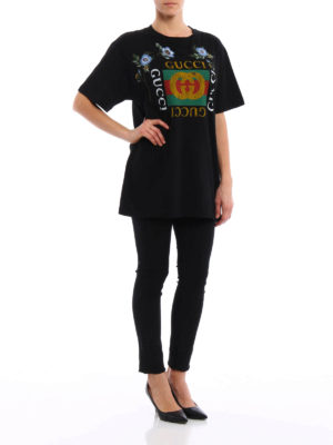 Gucci: t-shirts online - Embroidered flower printed T-shirt