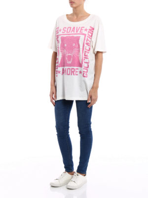Gucci: t-shirts online - Guccification pink print over Tee