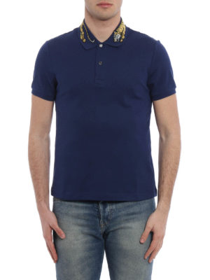 Gucci: t-shirts online - Tiger embroidery cotton pique polo