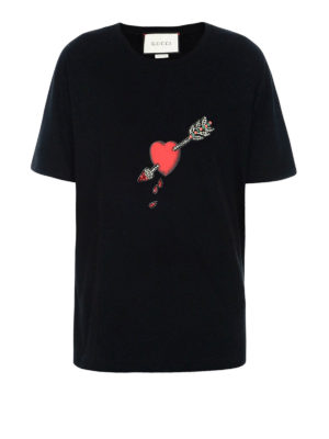 Gucci: t-shirts - Pierced Heart cotton T-shirt