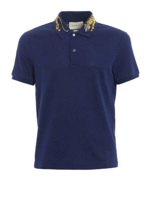Gucci: t-shirts - Tiger embroidery cotton pique polo