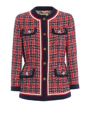 GUCCI: giacche sartoriali - Giacca sciancrata in tweed scozzese
