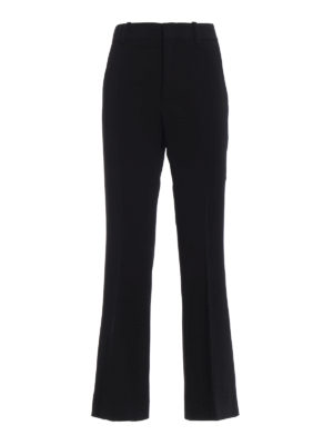 GUCCI: Pantaloni sartoriali - Pantaloni a zampa neri in crepe