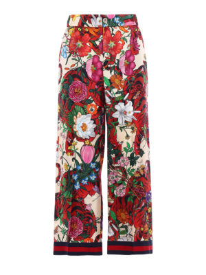 Gucci: Tailored & Formal trousers - Flora Tiger silk wide leg trousers