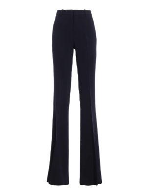 GUCCI: Pantaloni sartoriali - Pantaloni svasati blu scuri in crepe