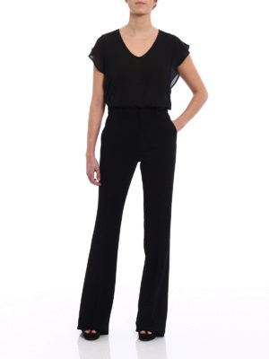 Gucci: Tailored & Formal trousers online - Black light cady flared trousers