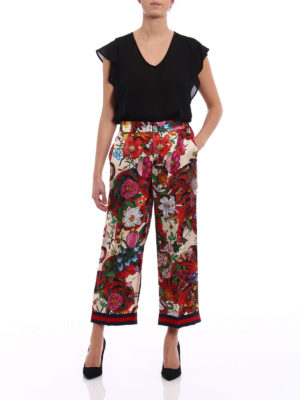 Gucci: Tailored & Formal trousers online - Flora Tiger silk wide leg trousers