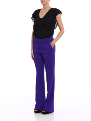 Gucci: Tailored & Formal trousers online - Light cady flared trousers