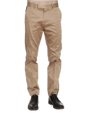 Gucci: Tailored & Formal trousers online - Web trim formal cotton trousers