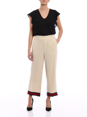 Gucci: Tailored & Formal trousers online - Web trimmed wide leg silk trousers