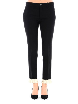 Gucci: Tailored & Formal trousers online - Wool and frilled silk trousers