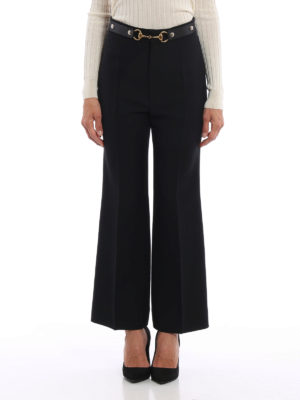 Gucci: Tailored & Formal trousers online - Wool and silk flared crop trousers