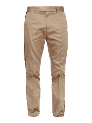 Gucci: Tailored & Formal trousers - Web trim formal cotton trousers