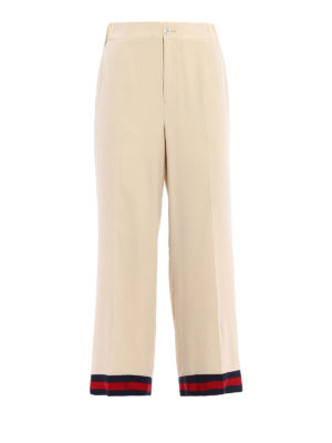 Gucci: Tailored & Formal trousers - Web trimmed wide leg silk trousers