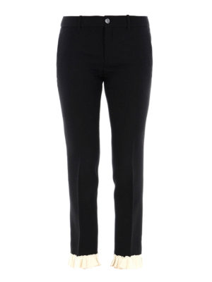 Gucci: Tailored & Formal trousers - Wool and frilled silk trousers